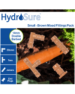 HydroSure 14mm Barbed Brown Fittings Pack - Small