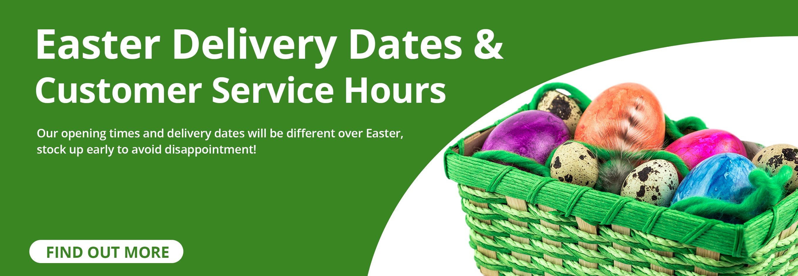 Easter Delivery Times and Customer Service Hours for Water Irrigation, Choice Shops Limited